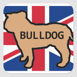 bulldog name silhouette on flag fawn square sticker