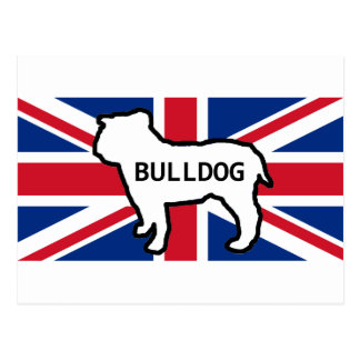 bulldog name silhouette on flag white postcard