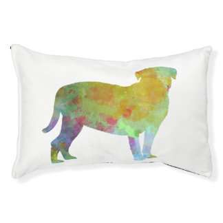 Bulldog of Bordeaux in watercolor Pet Bed