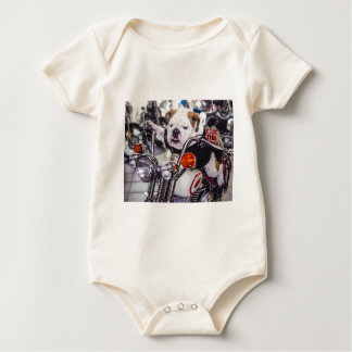 Bulldog on Motorcycle Baby Bodysuit