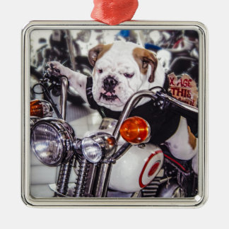 Bulldog on Motorcycle Metal Ornament