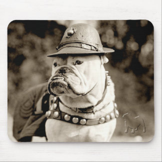 Bulldog on patrol wearing hat and cape mouse pad