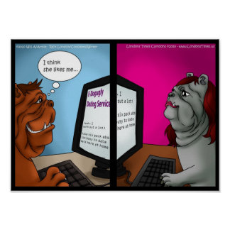 Bulldog Online Dating Funny Posters Print