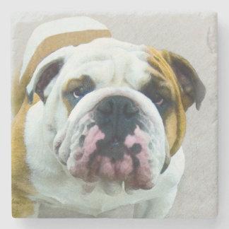 Bulldog Painting - Cute Original Dog Art Stone Coaster