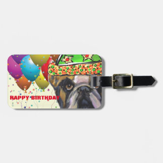 Bulldog Party Dog Luggage Tag
