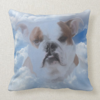 Bulldog Pet with Heaven Clouds Sympathy Cushion