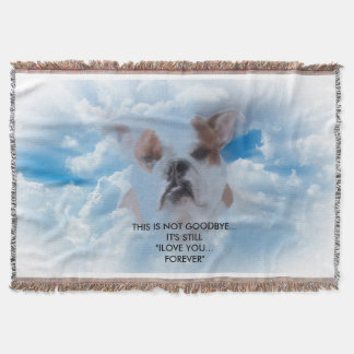 Bulldog Pet with Heaven Clouds Sympathy Throw Blanket