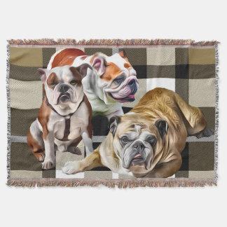 Bulldog Plaid Throw Blanket