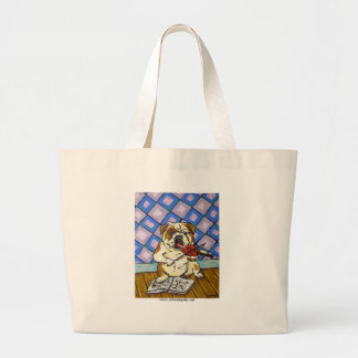 Bulldog Playing the Violin Large Tote Bag