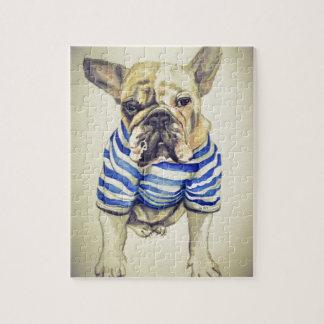Bulldog Portrait in Purple Haze Jigsaw Puzzle