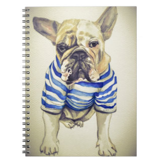 Bulldog Portrait in Purple Haze Notebooks