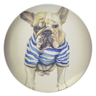 Bulldog Portrait in Purple Haze Plate