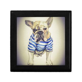 Bulldog Portrait in Purple Haze Small Square Gift Box