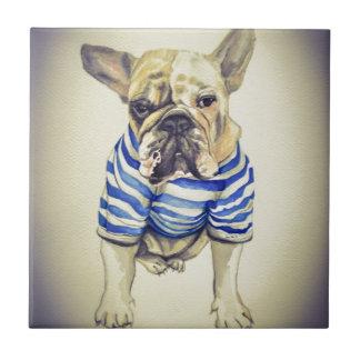 Bulldog Portrait in Purple Haze Tile