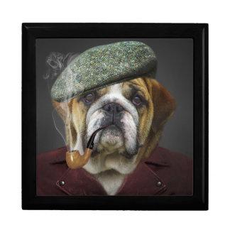 Bulldog portrait smoking a pipe gift box
