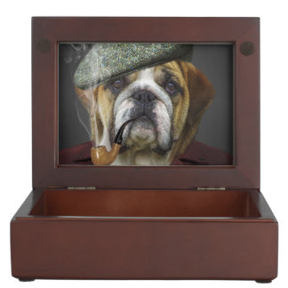 Bulldog portrait smoking a pipe keepsake box