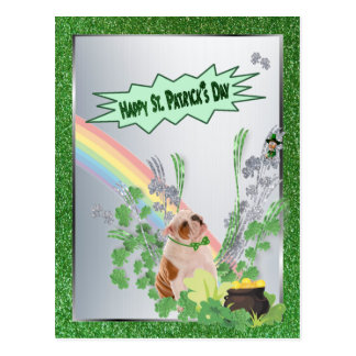 Bulldog Pup Number 1 Happy St Patty Small Version Postcard