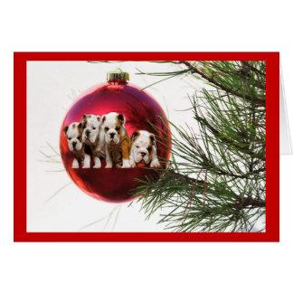 Bulldog Puppies Christmas Card Ball