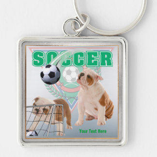 Bulldog Puppies Soccer Design Square Key Chain