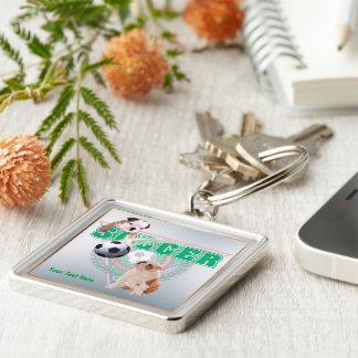 Bulldog Puppies Soccer Design - Third Version Silver-Colored Square Key Ring