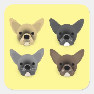 Bulldog Puppies Square Sticker