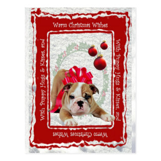 Bulldog Puppy Hugs & Kisses and Christmas Wishes Postcard
