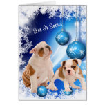 Bulldog Puppy Let It Snow Greeting - Customisable