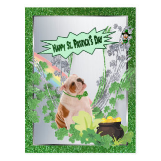 Bulldog Puppy Number One Happy St Pattys Day Postcard