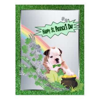 Bulldog Puppy Number Two Happy St Pattys Day Postcard