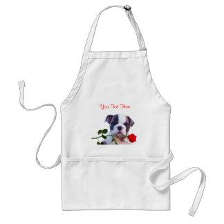Bulldog Puppy Red Rose Valentine Design Standard Apron