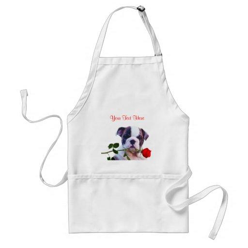 Bulldog Puppy Red Rose Valentine Design Aprons
