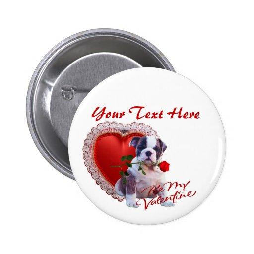 Bulldog Puppy Red Rose Valentine Design Button