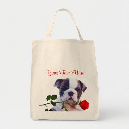 Bulldog Puppy Red Rose Valentine Design Tote Bag