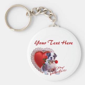 Bulldog Puppy Red Rose Valentine Design Basic Round Button Key Ring