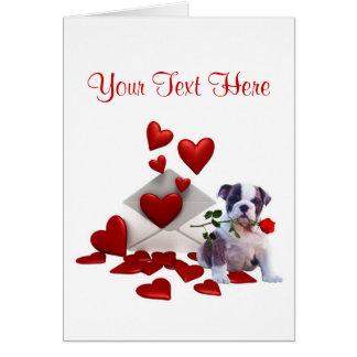 Bulldog Puppy Red Rose Valentine Design Cards