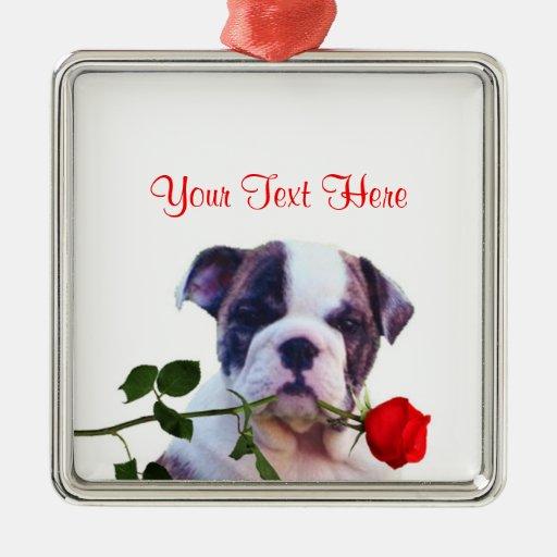 Bulldog Puppy Red Rose Valentine Design Christmas Tree Ornament
