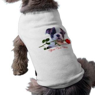 Bulldog Puppy Red Rose Valentine Design Doggie Tee Shirt