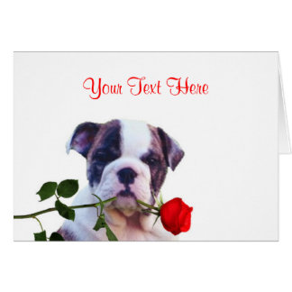 Bulldog Puppy Red Rose Valentine Design Greeting Card