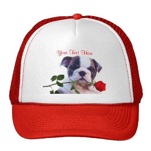 Bulldog Puppy Red Rose Valentine Design Mesh Hat