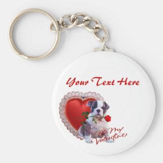 Bulldog Puppy Red Rose Valentine Design Basic Round Button Key Ring