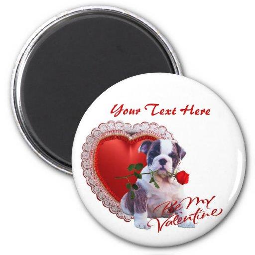 Bulldog Puppy Red Rose Valentine Design Refrigerator Magnets