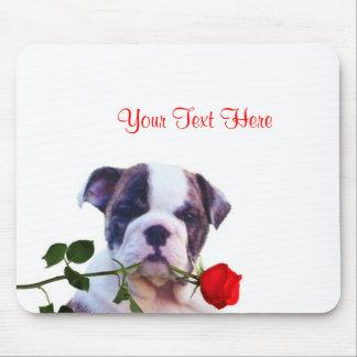 Bulldog Puppy Red Rose Valentine Design Mousepads