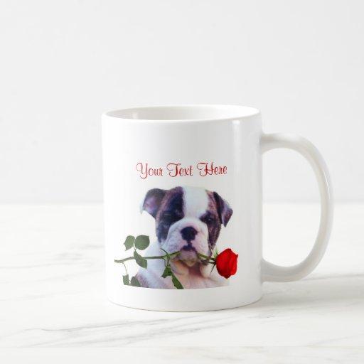 Bulldog Puppy Red Rose Valentine Design Mugs