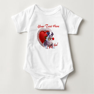 Bulldog Puppy Red Rose Valentine Design Shirts