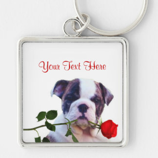 Bulldog Puppy Red Rose Valentine Design Silver-Colored Square Key Ring