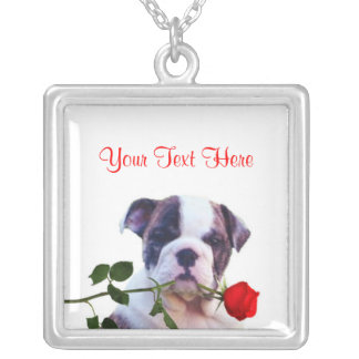 Bulldog Puppy Red Rose Valentine Design Square Pendant Necklace