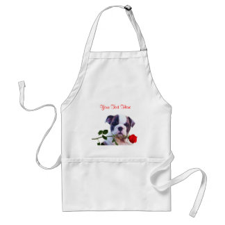 Bulldog Puppy Red Rose Valentine Design Standard Apron