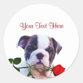 Bulldog Puppy Red Rose Valentine Design Sticker