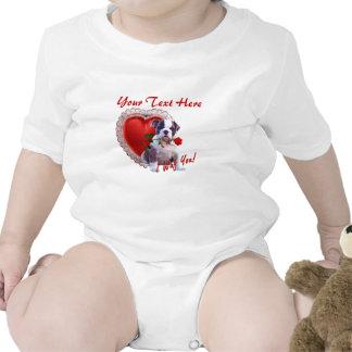 Bulldog Puppy Red Rose Valentine Design Rompers