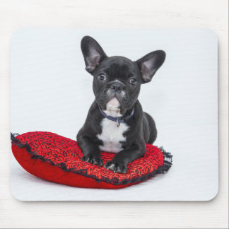 Bulldog puppy sitting on red heart shaped cushion mouse pad